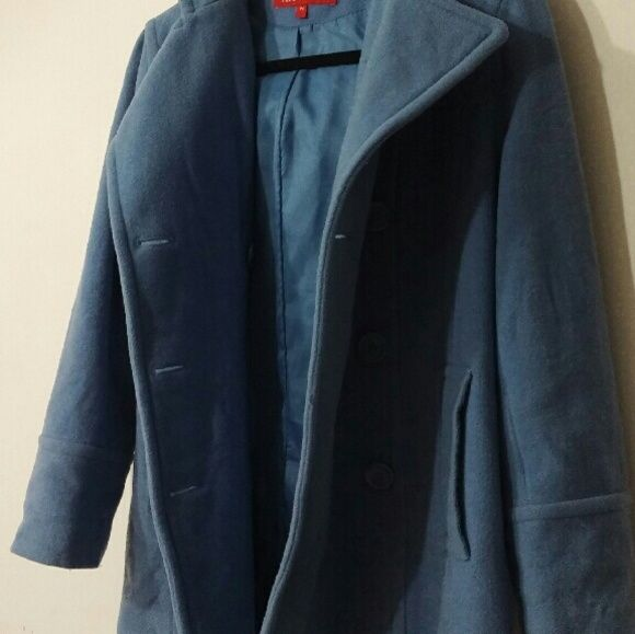 Anne Klein Coat A light muted blue trench coat. This coat is perfect for the winter it keeps you so warm. It is made out if 80% Wool, 20% Nylon and the lining is 100% polyester. Has been worn but still has so much life left in it. It just needs to be dry cleaned. It is PETITE small. I am usually a medium and this fits perfect as well. Anne Klein Jackets & Coats Trench Coats