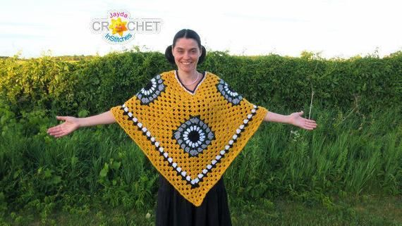 Crochet Granny Square Poncho PATTERN PDF - Vintage Boho Clothing - Jayda InStitches