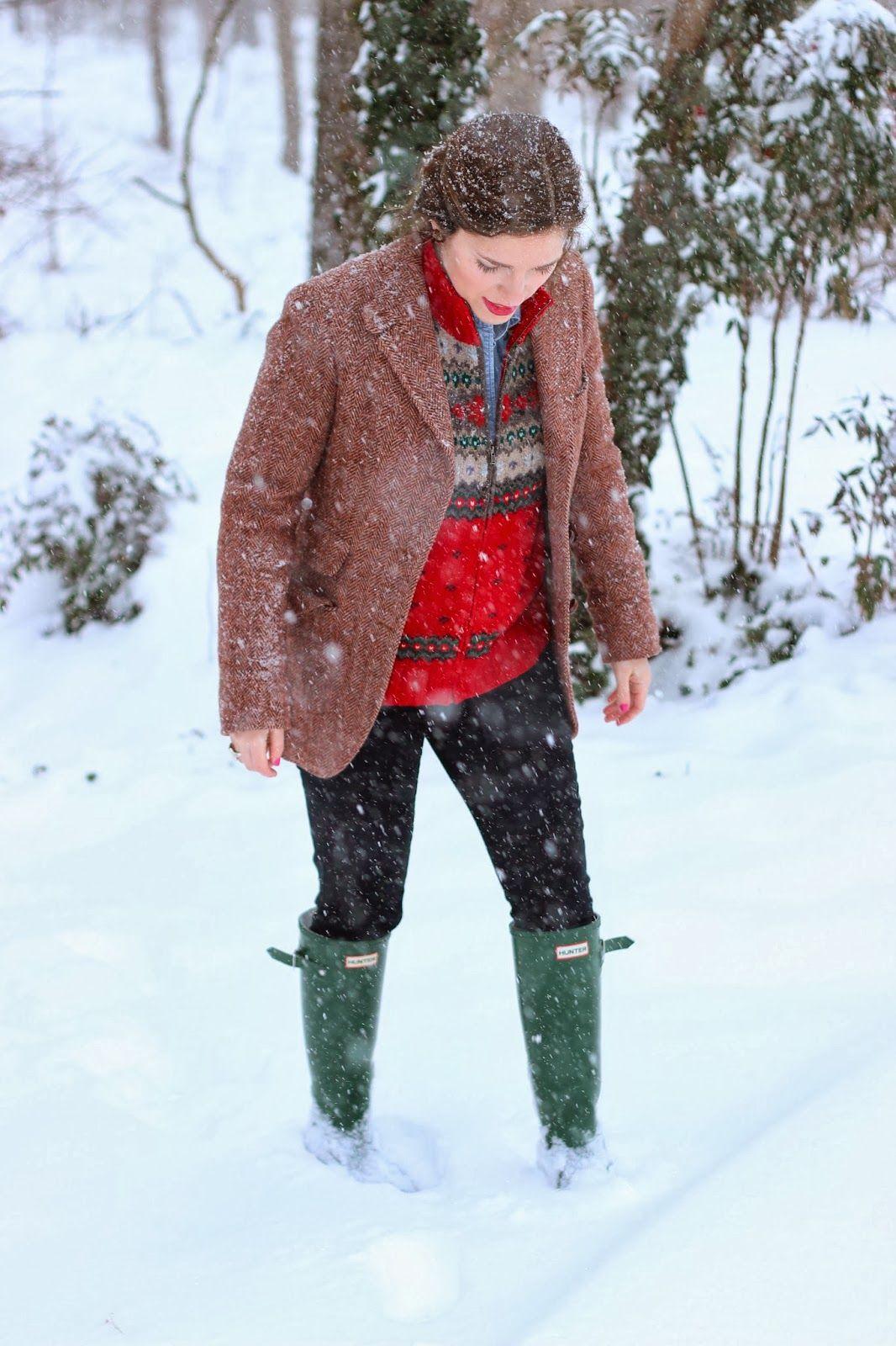 @Ralph Holzmann Lauren sweater, Harris tweed coat, Hunter boots
