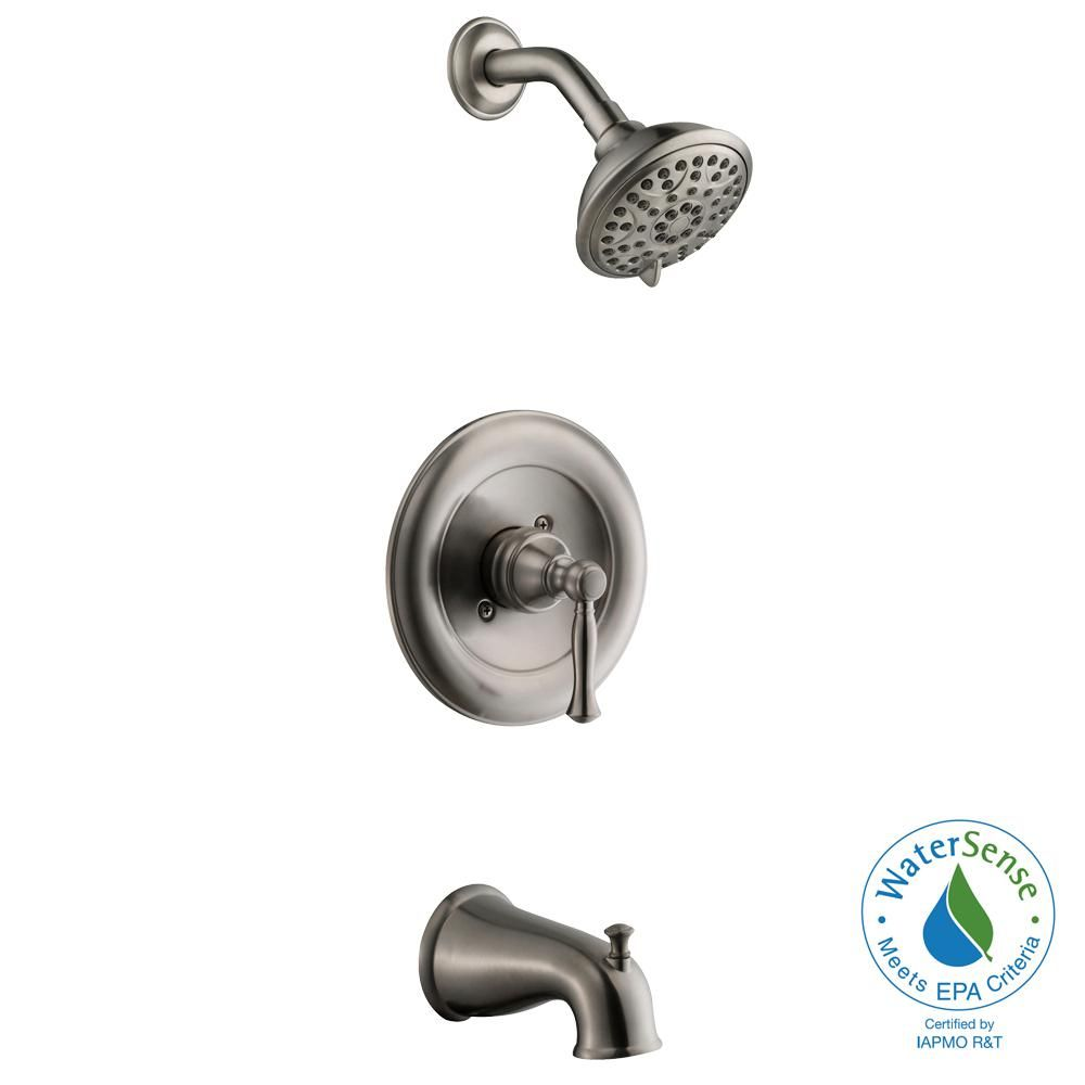 Glacier Bay Fairway 1 Handle 3 Spray Tub And Shower Faucet In Brushed Nickel Valve Included Hd873x 2104 Shower Tub Tub Shower Faucets Shower Faucet