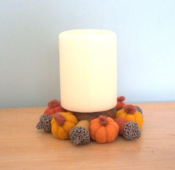 Autumn Thanksgiving wreath 6 small wool Pumpkins 6 by astashtoys, $36.00