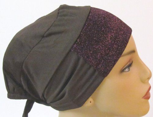 Under-hijab Scarf Headband with Glitter Front Brown.  It is made from stretch knit polyester fabric with added glitter/sparkle fabric. More at http://suliaszone.com/under-hijab-scarf-headband-with-glitter-front-white/