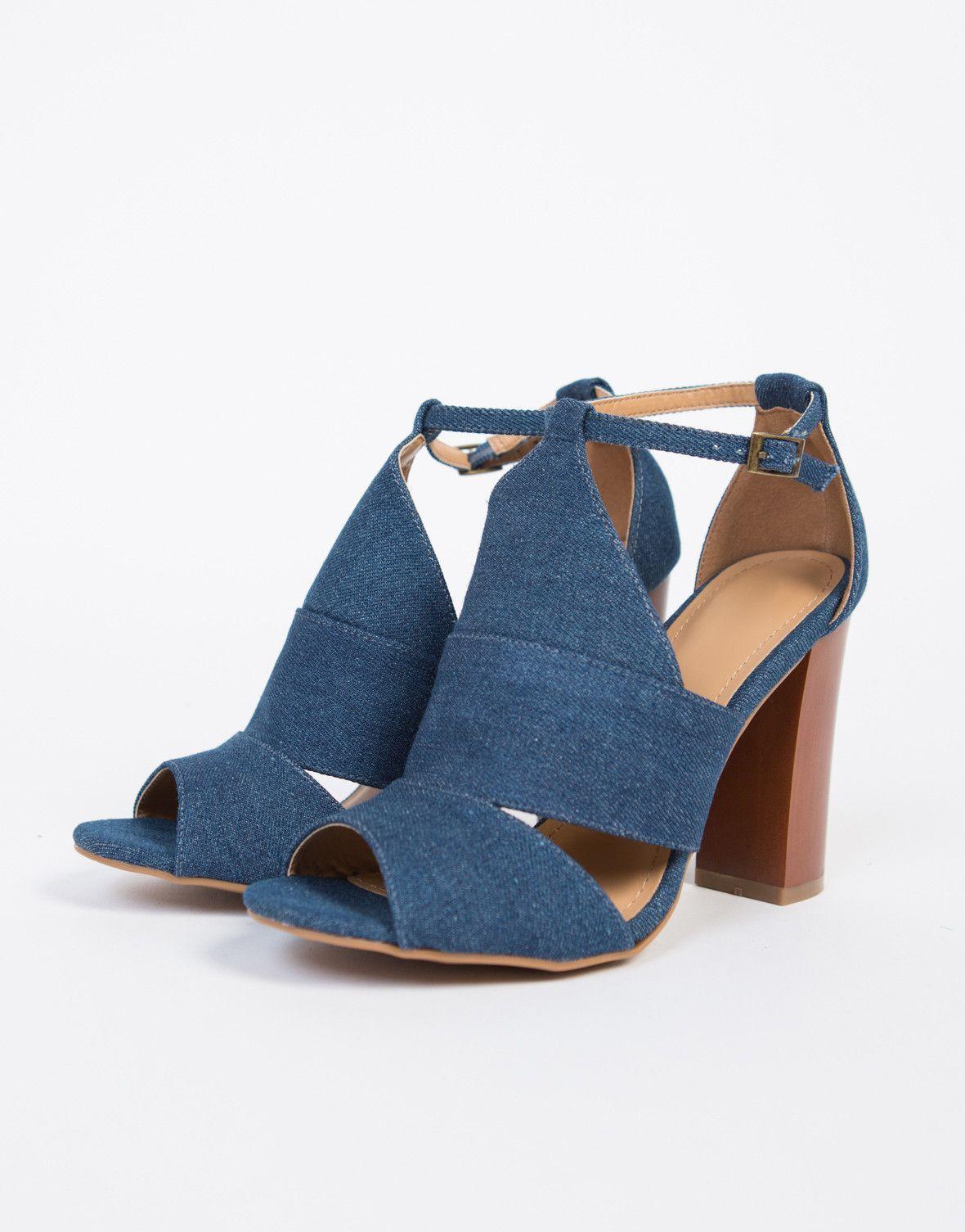 Denim Block Heel Sandals   Heels, Block heels, Shoes
