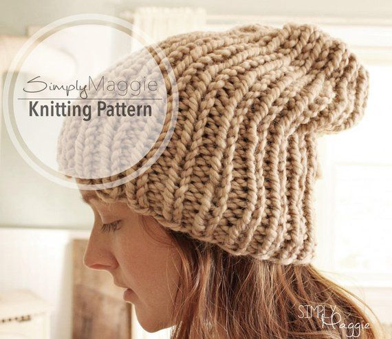 Knitting Pattern // Slouchy Hat // Knit Purl Hat // Rib ...