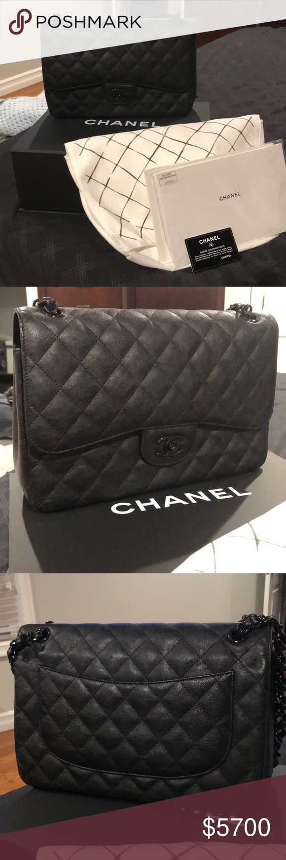 b2da19eac2ed Chanel Jumbo So Black Double Flap Perfect Condition! Comes with box,  authenticity card, care cards and dust bag. This bag is the quilted crumpled  calfskin ...