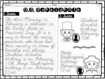 FREE Handwriting Practice with Social Studies Passages CURSIVE