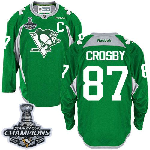 314d9c27a39 Reebok Pittsburgh Penguins #87 Men's Sidney Crosby Authentic Green Practice  Stanley Cup Champions NHL Jersey