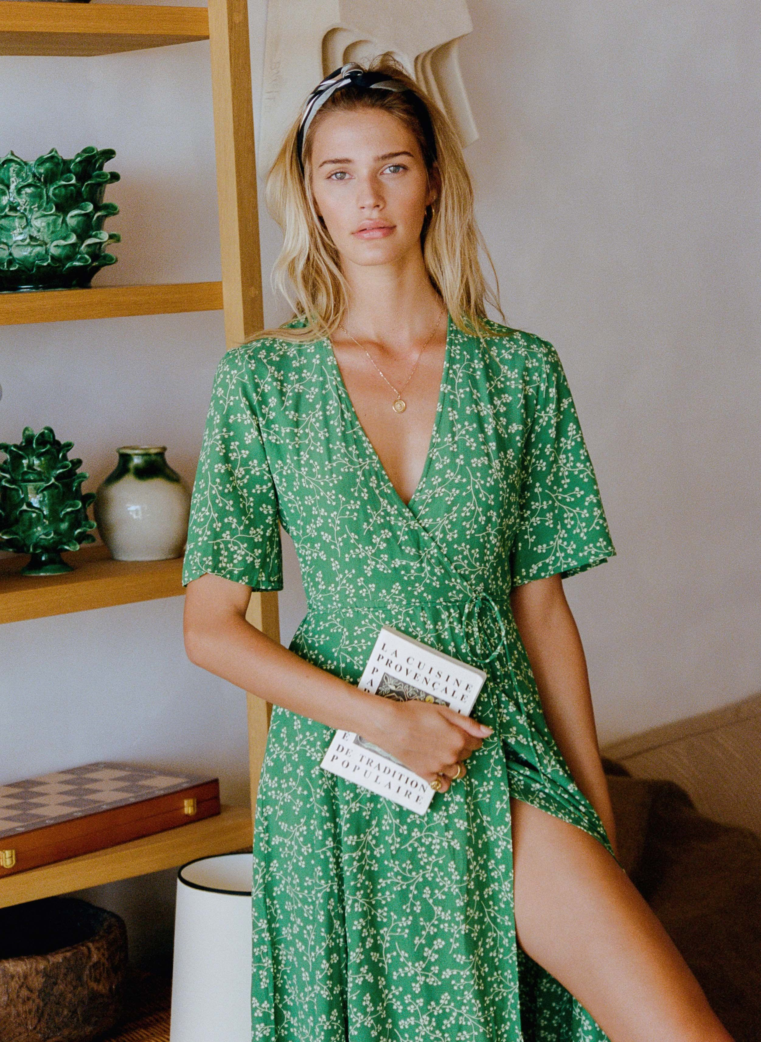 5522eea2426f VIOLETTE PRINT - GREEN - RIVERA MIDI DRESS | Fashion in 2019 | Scarf ...