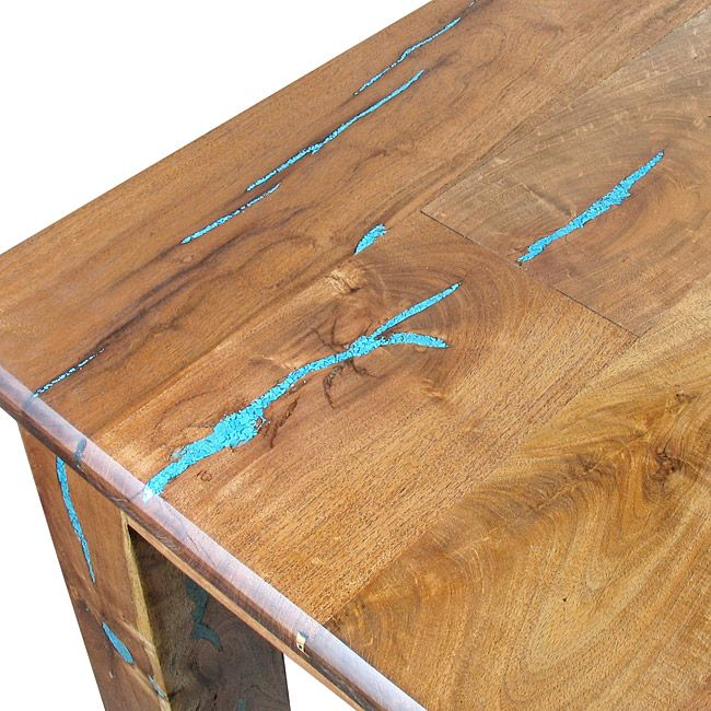Southwest Mesquite Sofa Table with Turquoise Inlay Home