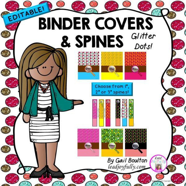 EDITABLE Binder Covers & Spines (Glitter Dots)
