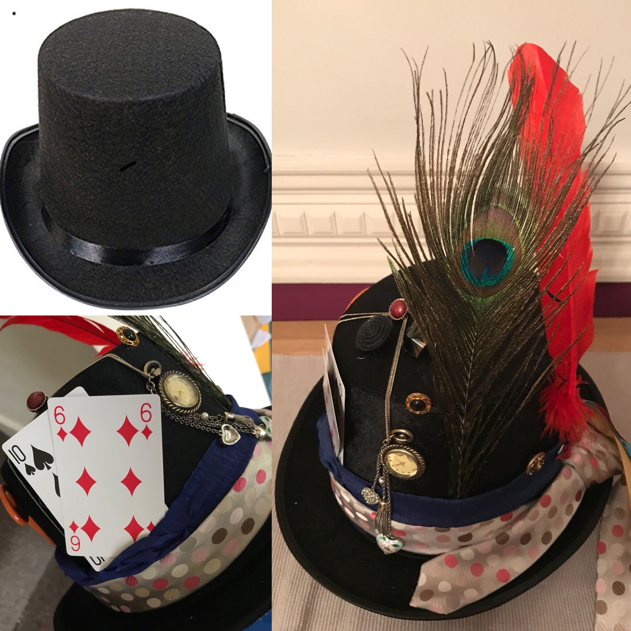 Easy Mad Hatter S Hat 1 Top Hat 4 50 Amazon 2 Craft Feathers Hobbycraft 3 An Old Tie 4 10 6 Playing Pocket Watch Necklace Old Ties Feather Crafts