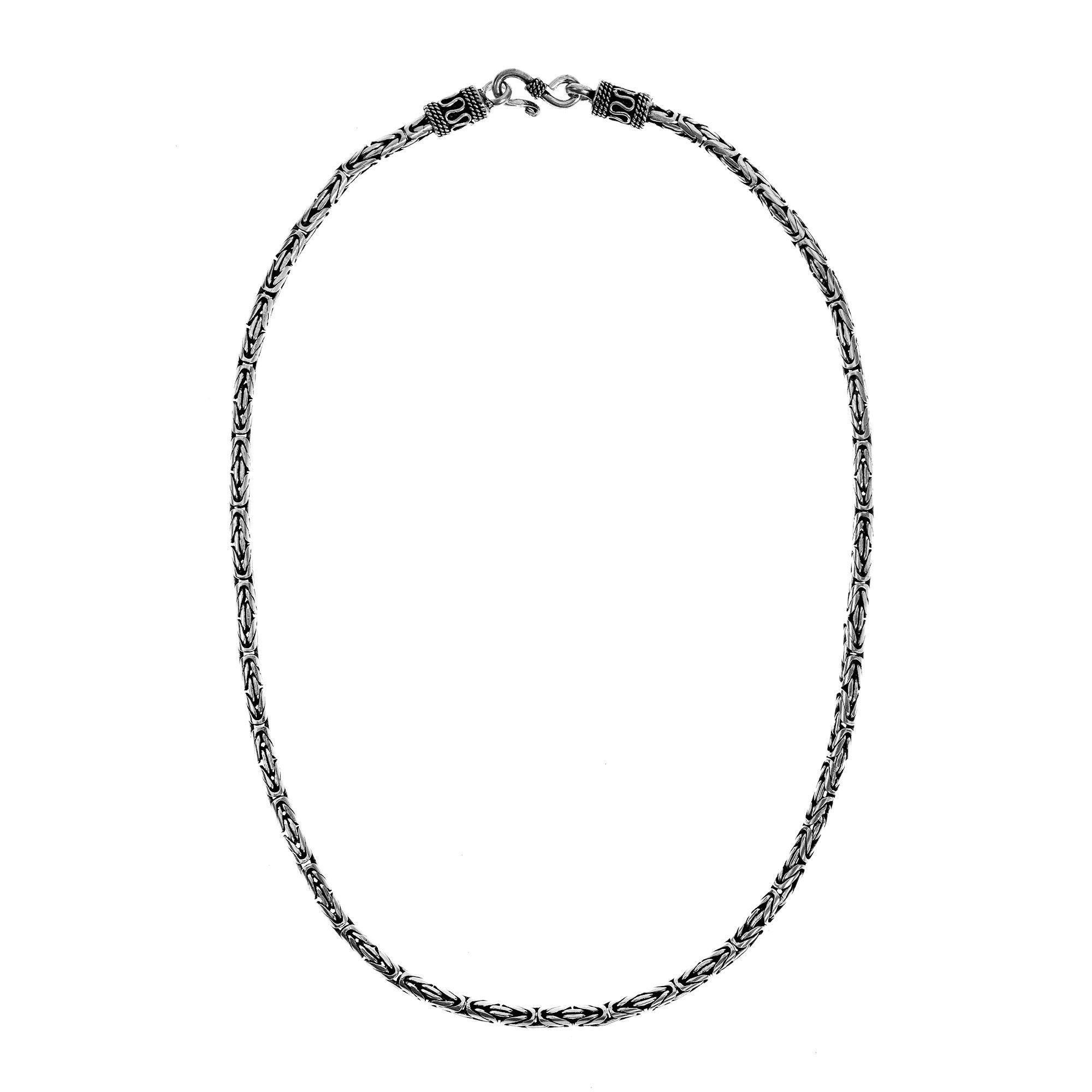 Aeravida 4mm Balinese Byzantine .925 Sterling Chain Necklace