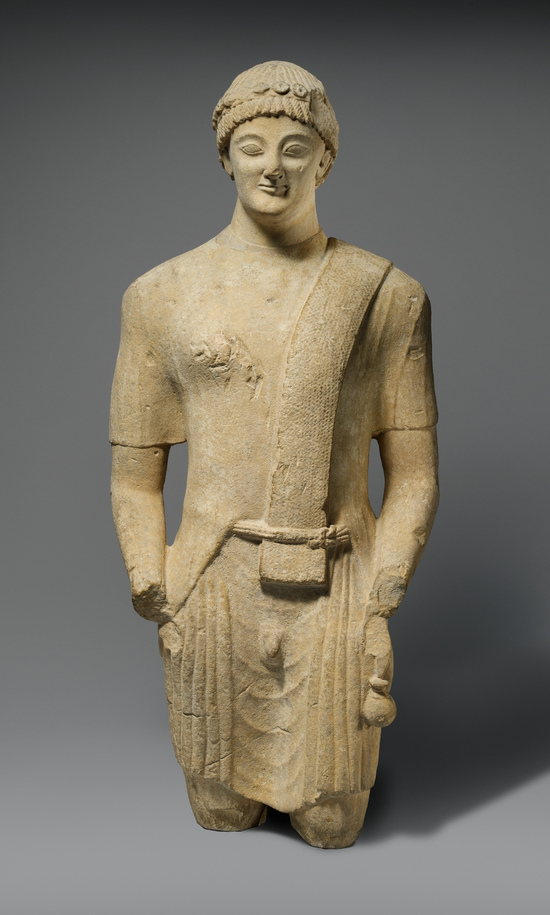 Limestone statue of a male votary Period: Cypro-Classical Date: first half of the 5th century B.C. Culture: Cypriot Medium: Limestone. | © 2000–2014 The Metropolitan Museum of Art.