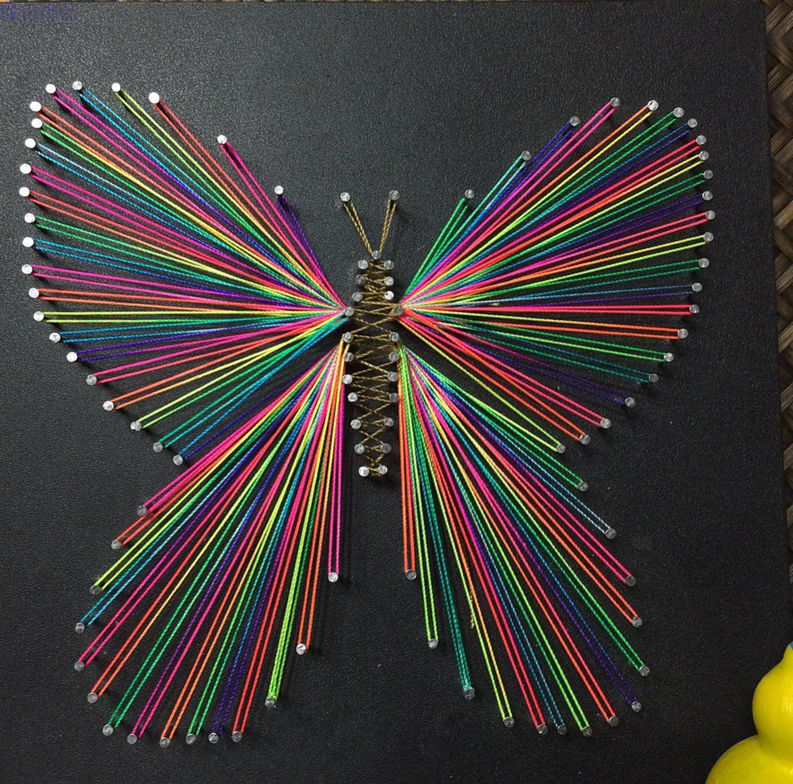 String Art: Nails And Strings Art Butterfly String Art, Butterfly