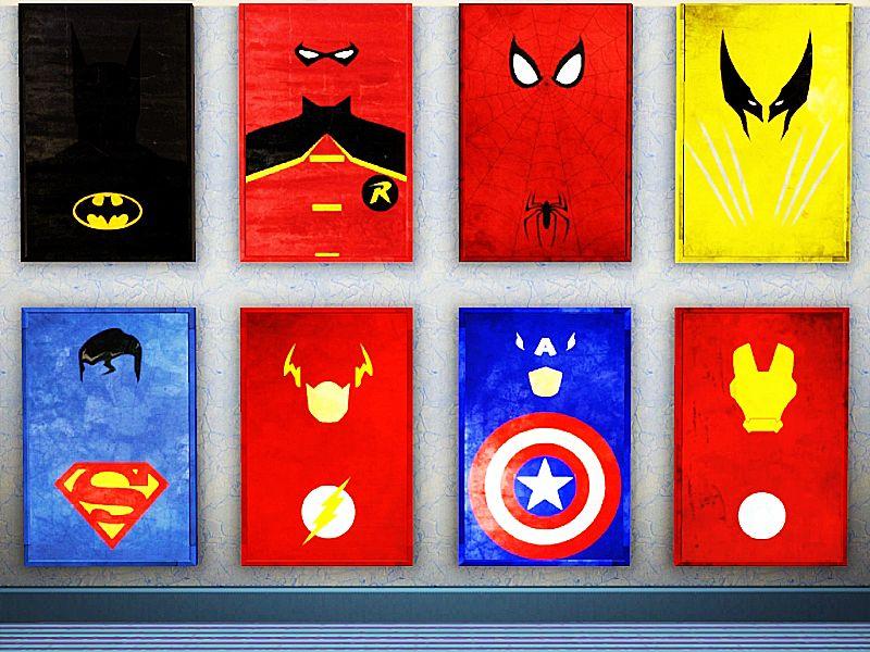 minimalist superhero posters | geek decor | poster heroes