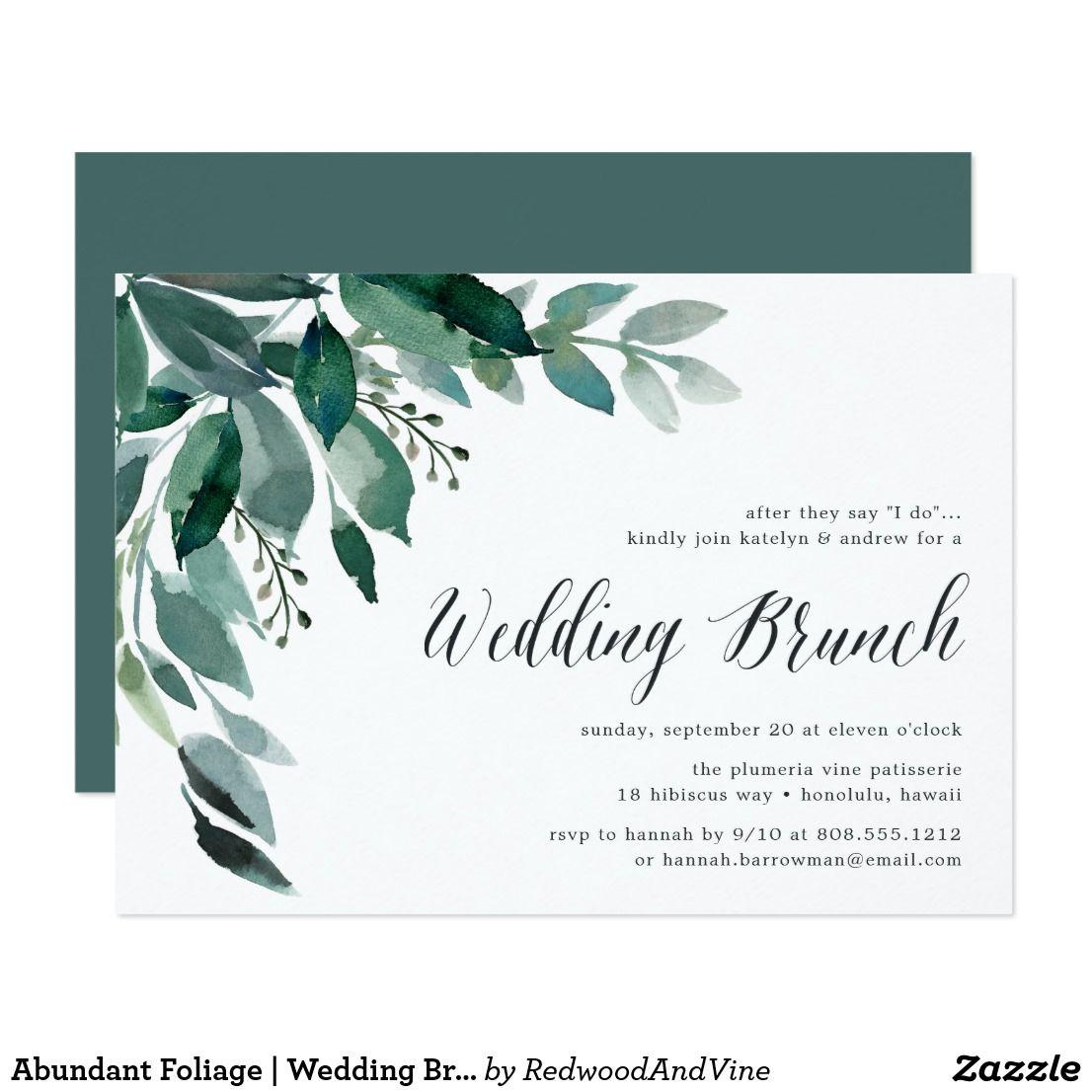 Abundant Foliage Wedding Brunch Invitation Brunch Invitations