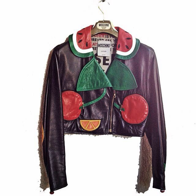 Moschino Vintage Leather Jacket Moschino Fruit Biker RARE