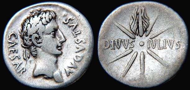 Oak-wreathed head of Augstus with 'Caesar Augustus'  Star of