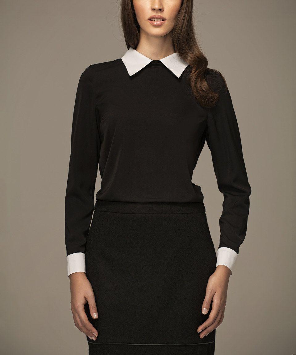Black White Collar Top Fashion Black Blouse Collar Top [ 1152 x 959 Pixel ]