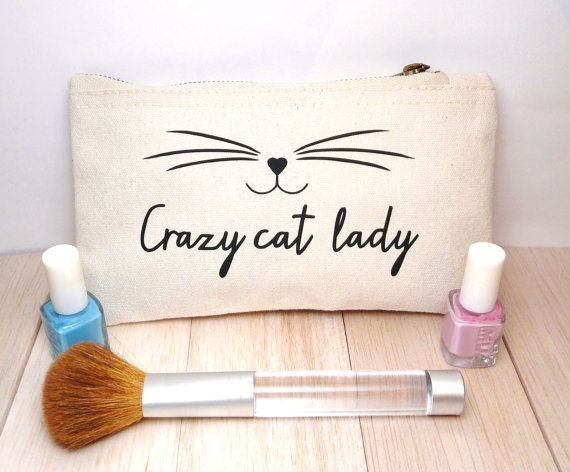 Crazy Cat Lady Make Up Case Make-Up Case, Cosmetic Bag, Canvas Wallet, Inspirational Quote The perfect make-up case for crazy cat ladies! A