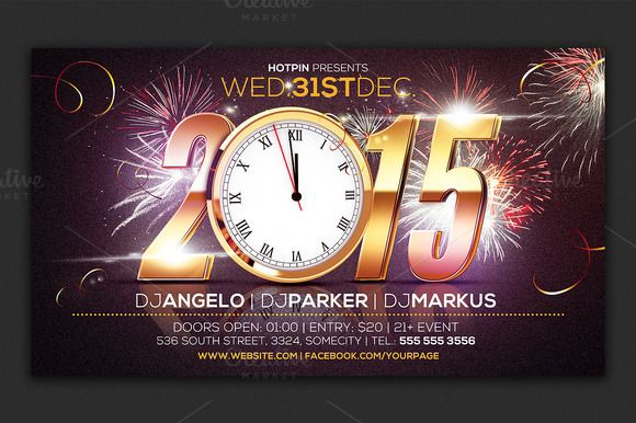 New Year Eve Party Flyer Template by Hotpin on Creative Market - new year poster template