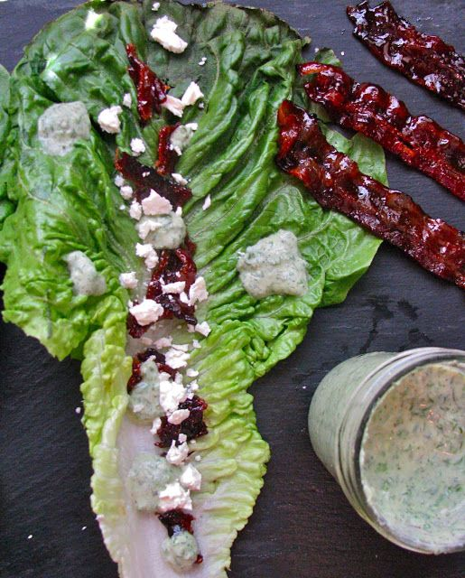 Bacon lettuce feta and dressing - 1/4 c. parsley, chopped 2 T. fresh dill, removed from the sprigs 1 T. fresh chives, chopped 1.5 T. fresh basil, chopped 1 whole clove of garlic 1 c. plain, Greek yogurt (I used non-fat) 2 T. low-fat buttermilk (you could also use water to thin out the dressing) 1/2 t. ground pepper pinch of salt