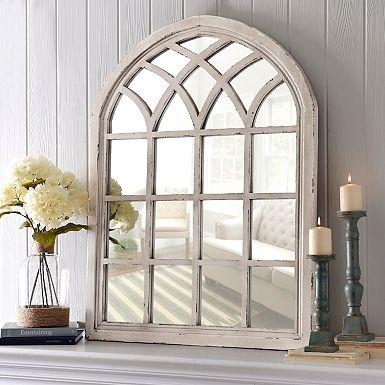 Distressed Cream Marquis Pane Mirror Arch Mirror Home Living Decor