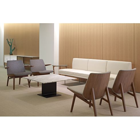 Geiger Clamshell Chair, I Beam Coffee Table, Herman Miller Tuxedo Sofa