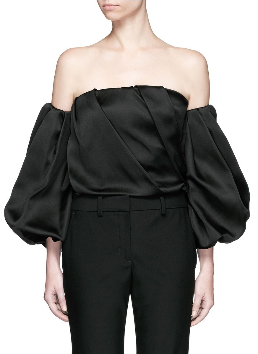 69b3694cd69ae THE ROW  Amilli  Balloon Sleeve Silk Off-Shoulder Top.  therow  cloth  top
