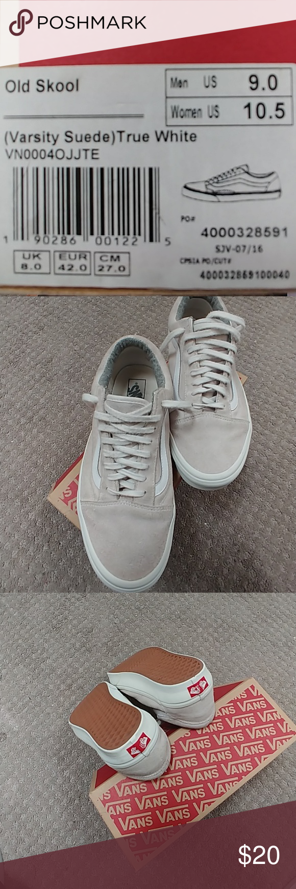 Ol Skool Vans Size 10 - Worn off white suede like fabric. Original box. Pet  free and smoke free home. Vans Shoes Athletic Shoes d25edcf52