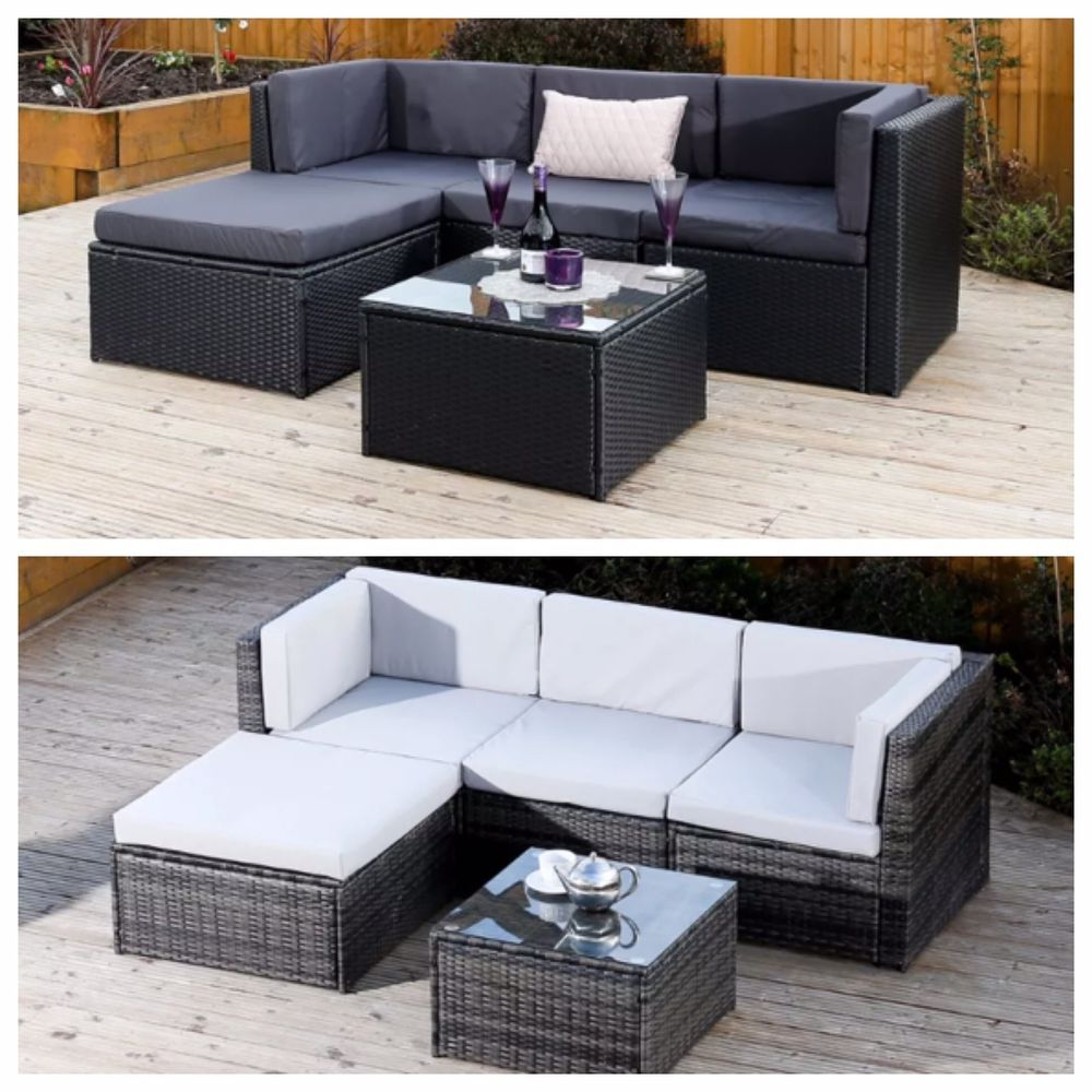 corner sofa outdoor furniture covers regency black grey modular rattan weave set garden 310 cover