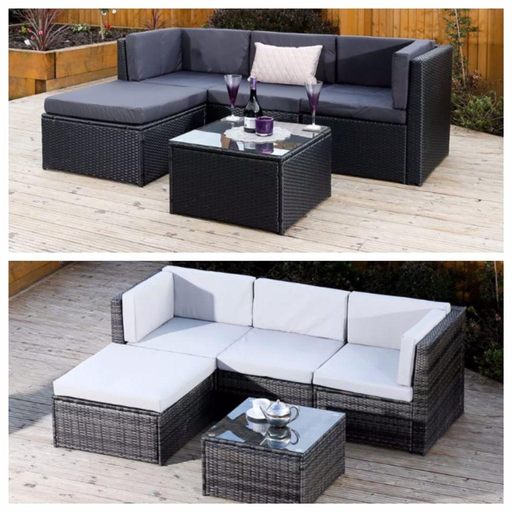 Details about Black Grey Corner Modular Rattan Weave Sofa