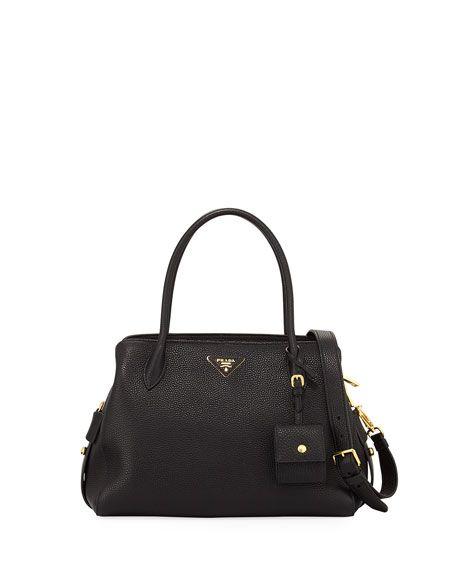 263f4baa2ef426 PRADA Medium Vitello Daino Top-Handle Bag, Black. #prada #bags #shoulder  bags #hand bags #leather #lining #