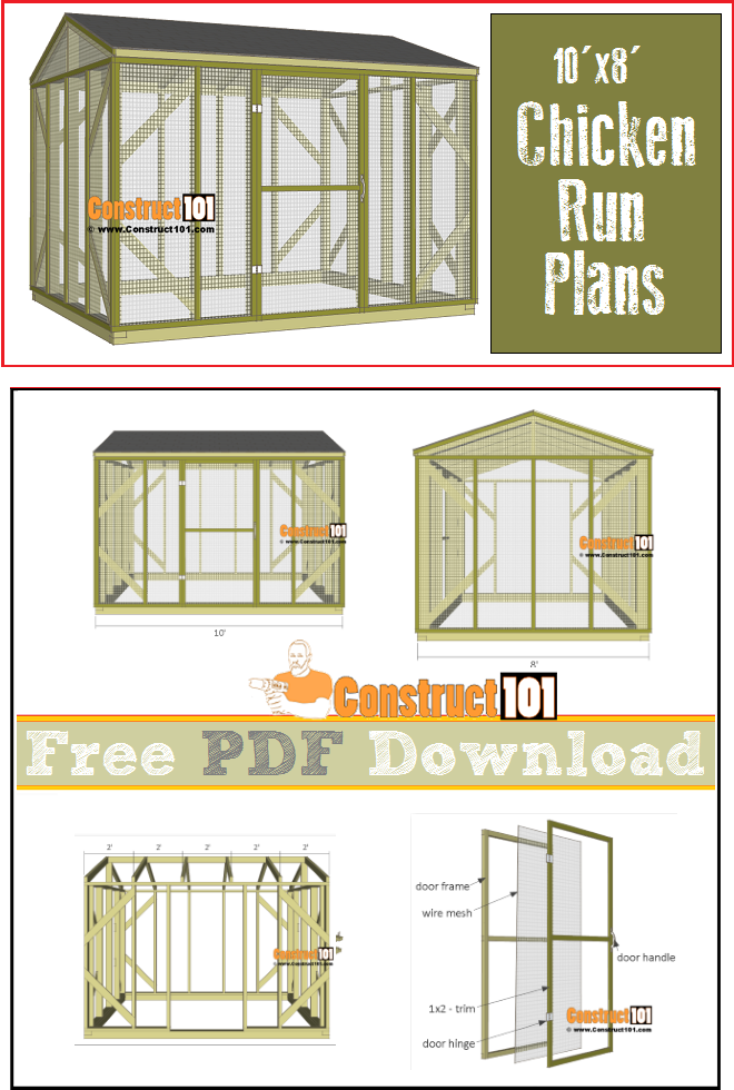Chicken Coop Run Plans 10x8 PDF Download