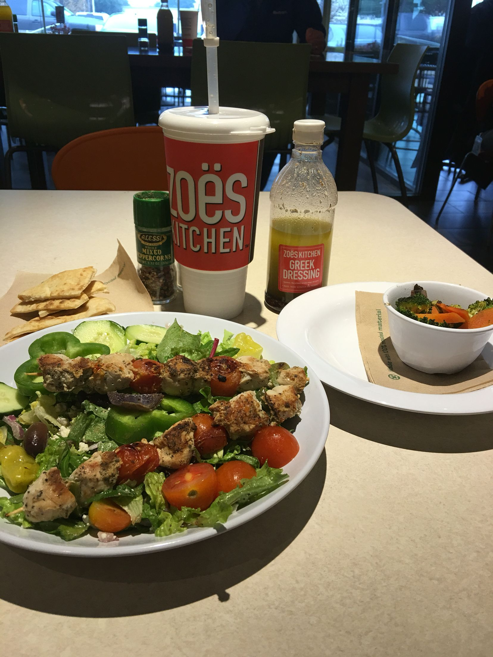 Zoe S Kitchen Chicken Kebabs With Double Greek Salad With