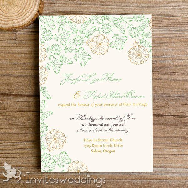 Modern Gold Flower Wedding Invitation Card IWI337  Wedding - invitation template online