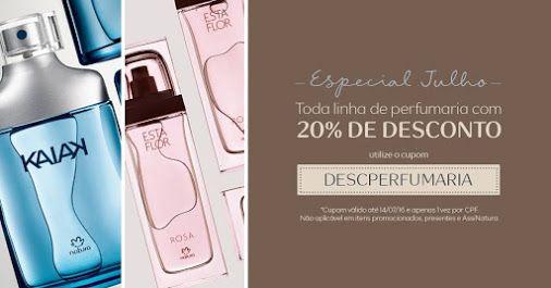Na Rede Natura, toda a linha de perfumaria está com 20% de desconto, usando o cupom DESCPERFUMARIA. Aproveite!  https://t.co/QRWzCK8Nxj Cupom não aplicável a promoções, presentes e AssiNatura. Válido apenas 1x CPF, de 08 a 14/07.