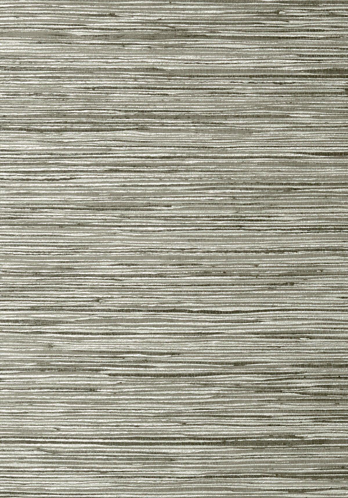 Thibaut Jindo Grass Charcoal on Metallic Silver Wallpaper