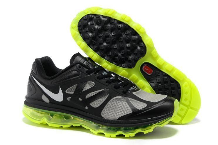 size 40 d2582 fe78d Nike Air Max 2012 Men s Running Shoes 487982 017 Black Metallic Silver-Volt