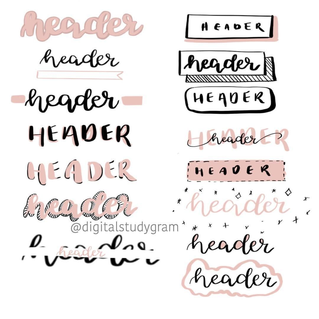Notes headers #bulletjournal Notes headers #aestheticnotes