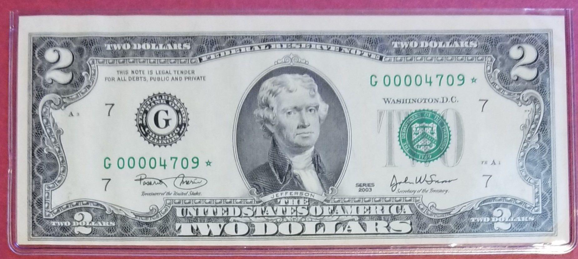 2 2003 $2 Dollar Bill Crisp UNCIRCULATED US BANK NOTES