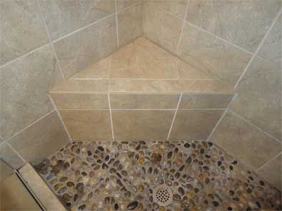 Corner Shower Bench Pebble Shower Floor Shower Renovation Shower Bench Pebble Shower Floor