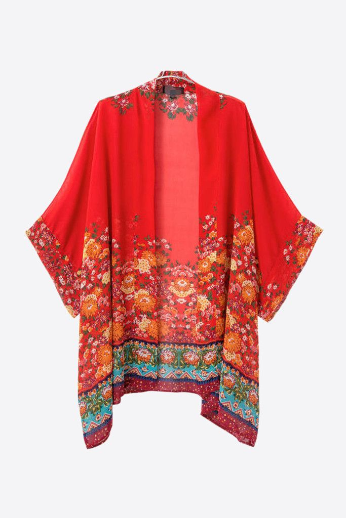 Retro Red Floral Printed Kimono | Kimonos, Customer service and Retro