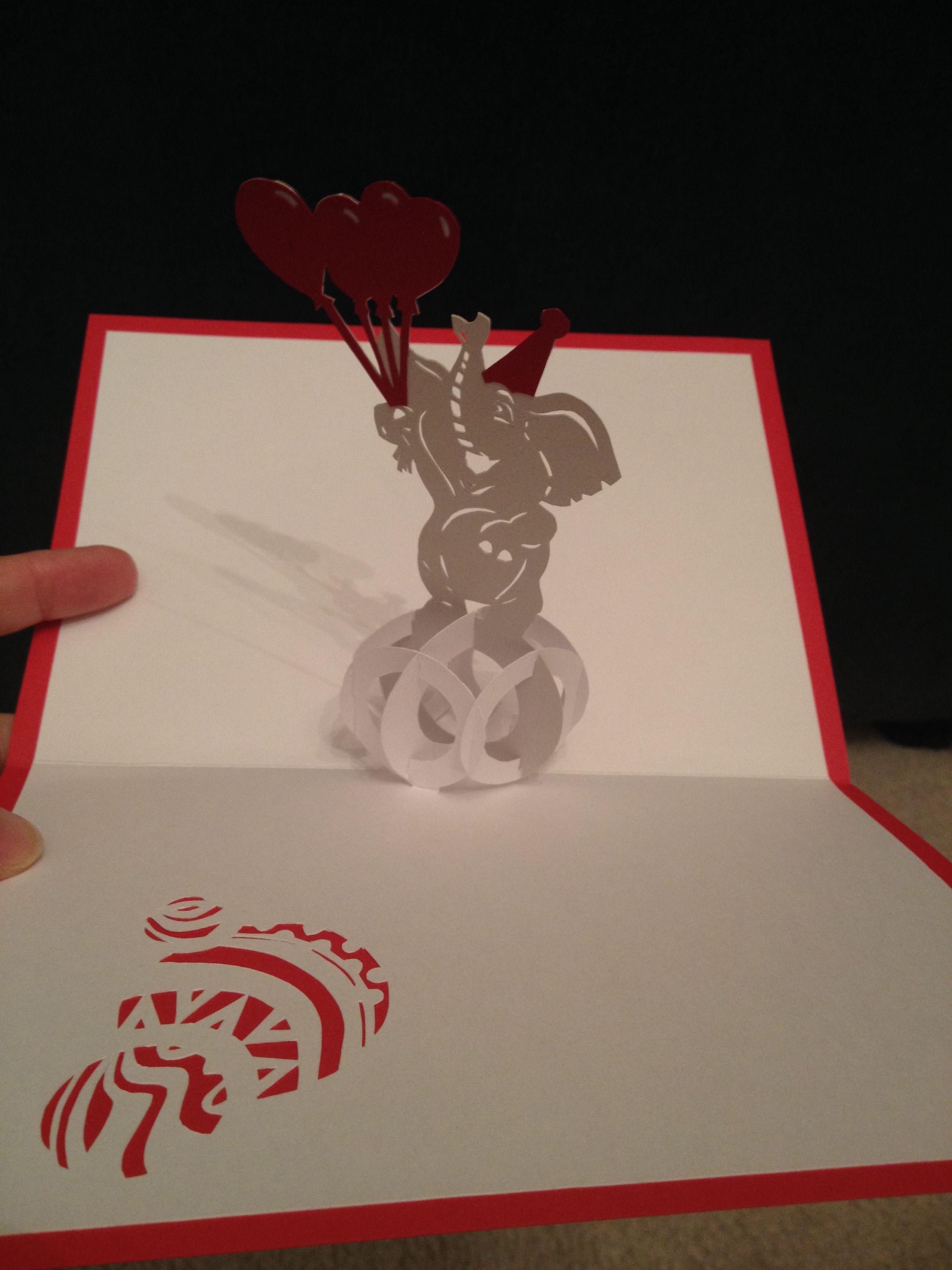 Circus Elephant On A Ball Sliceform Pop Up Template From Cahier De Kirigami No 16 Pop Up Cards Cards Cards Handmade