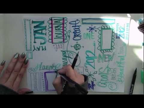 JANUARY graffiti masterboard video {p. 85 in Doodles Unleashed} by traci bautista