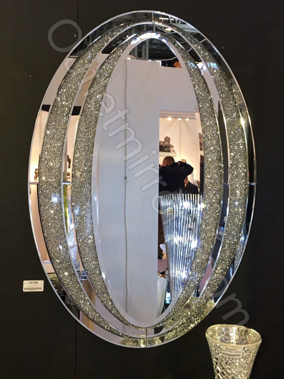 Diamond Crush Sparkle Oval Wall Mirror Item In Stock Oval Wall