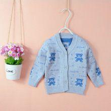 Áo khoác len bé trai, gái xinh xắn, họa tiết gấu, phong cách Hàn Quốc