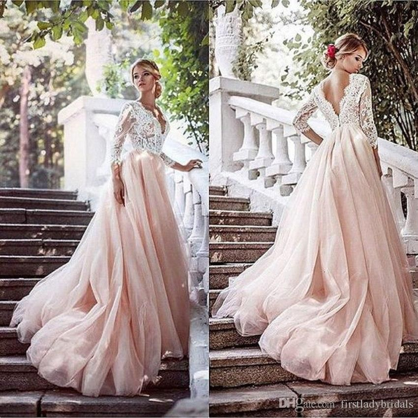 Blush Pink Wedding Dresses Deep V Neck Illusion Long 3 4 Sleeved Lace Top Bridal Gown Pink Wedding Dresses Blush Pink Wedding Dress Long Sleeve Prom Dress Lace