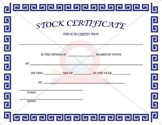 Stock Certificate Template  Stock Certificate Templates