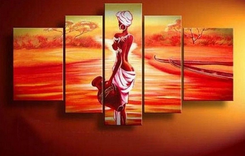 Abstract Art African Girl Sunset Painting Canvas Wall Large